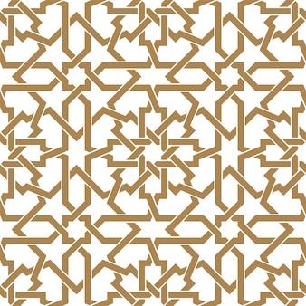 黄金色でシームレスなアラビア語の幾何学的な飾り。