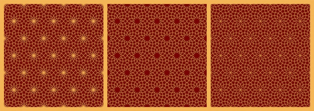 Seamless arabic geometric yellow ornaments on red