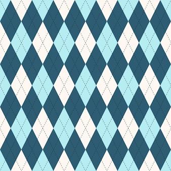 シームレスなアーガイルチェックの青いパターン。あなたの印刷物のダイアモンドチェックアイデア。