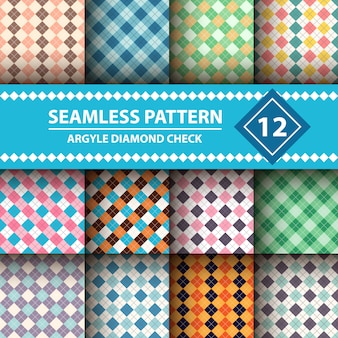 Seamless argyle plaid blue pattern