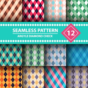 Seamless argyle plaid blue pattern.