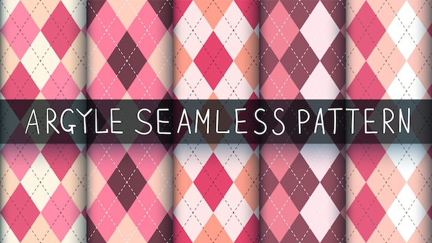 Seamless argyle plaid pink pattern.