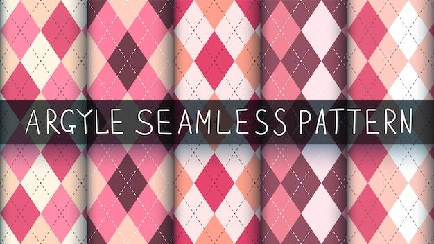 シームレスなアーガイルチェック柄ピンクパターン。