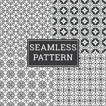 Seamless art deco pattern texture decorative background set.