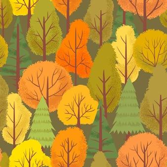 シームレスな秋の森の木のパターン。カラフルな森の木、屋外の公園の植物、シンプルな花の背景イラスト