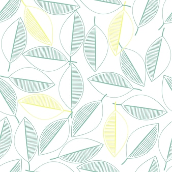 Seamless autumn pattern background with green leaves