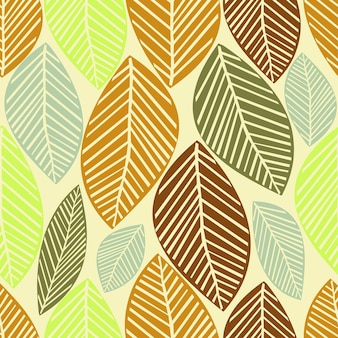 Seamless autumn pattern background with leaves