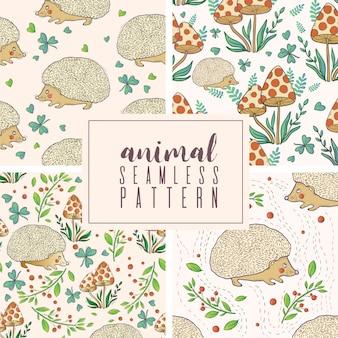 Seamless autumn pattern set
