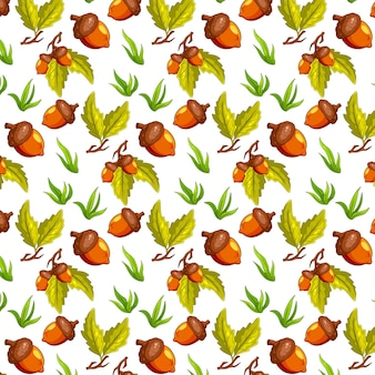 도토리, 잔디, 오크 잎이 있는 매끄러운 가을 패턴입니다. 만화 스타일. 디자인을 위해.