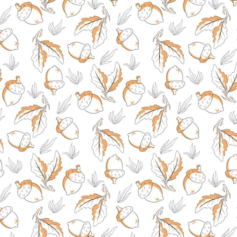 Seamless autumn pattern with acorns, grass and oak leaves. in line style. for design.