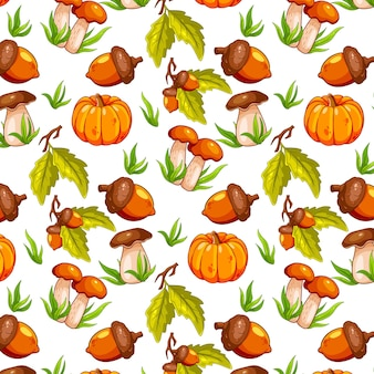 Seamless autumn pattern with acorns, pumpkin and mushrooms. for design.