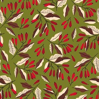 メギの枝とシームレスな秋のパターン。