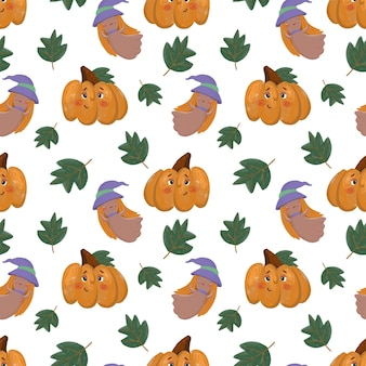 Seamless autumn pattern with cartoon pumpkin ghost and leaves