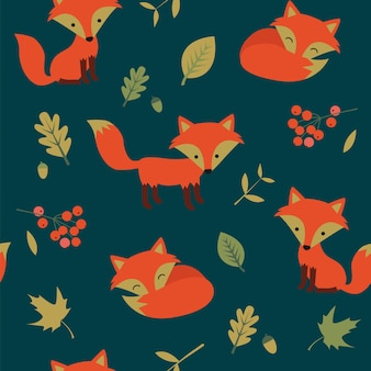 Seamless autumn pattern with foes and oaks leaves.