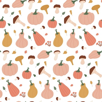 Seamless autumn pattern with leaves pumpkins mushrooms and branches on white background flat hand dr...