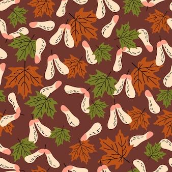 メープルとのシームレスな秋のパターン。布、テキスタイル、包装紙に最適です。