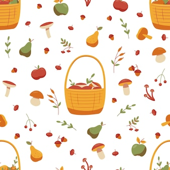 버섯, 도토리, 딸기, 사과, 배가 매끄러운 가을 패턴입니다. 벡터 일러스트 레이 션.