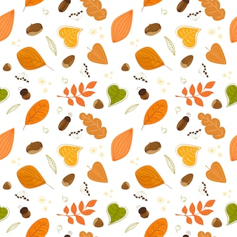 Seamless autumn pattern with nuts and leaves.   pattern.