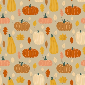 Seamless autumn pattern with pumpkins oak and maple leaves