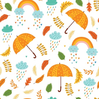 Seamless autumn pattern with umbrellas, clouds with rain and rainbows.