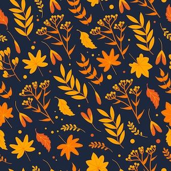 노란 잎, 허브, 꽃이 어두운 배경, 평평한 스타일에 주황색으로 매끄러운 가을 패턴입니다. 벽지의 경우 직물, 포장, 배경, 옷에 인쇄합니다.