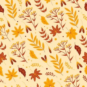 베이지색 배경에 노란색 잎 허브와 꽃이 있는 매끄러운 가을 패턴