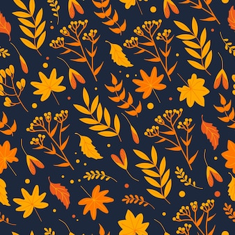 Seamless autumn pattern with yellowed leaves, herbs and flowers in orange tones on a dark background, flat style. for wallpaper, printing on fabric, wrapping, background, clothes.