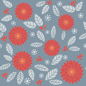 Seamless autumnal pattern with flowers and leaves