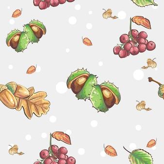 Бесшовный осенний фон с изображением каштанов и желудей ягод рябины