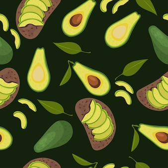 Seamless avocado pattern. avocados and sandwiches with avocados
