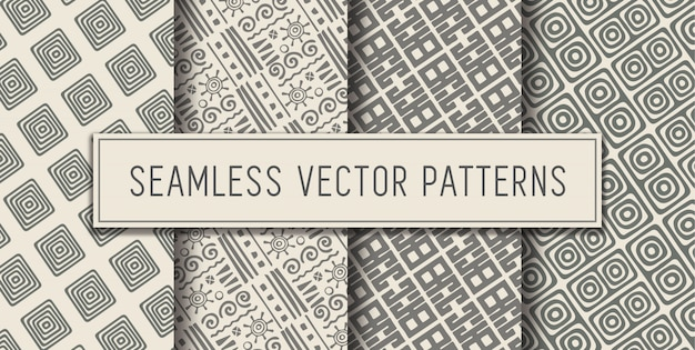 Seamless aztec pattern set