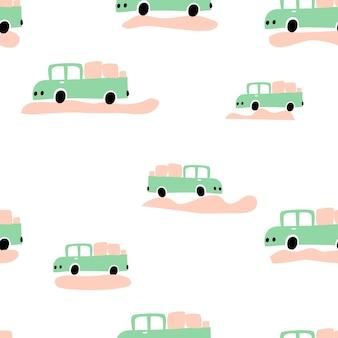 シームレスな男の子のパターン壁紙のベクトルパステルカラー落書きスカンジナビア車。