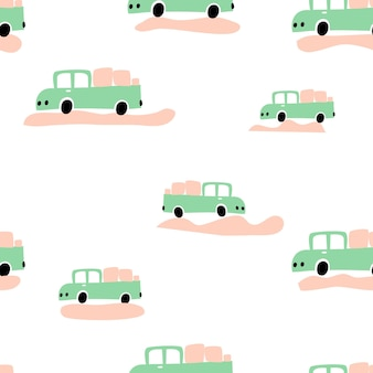 Seamless baby boy pattern vector pastel color doodle scandinavian cars for wallpaper.
