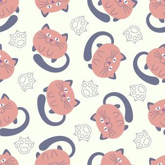 かわいい漫画の猫と猫の足とのシームレスな赤ちゃんのパターン。創造的な背景。子供のデザイン、ファブリック、パッケージ、壁紙、テキスタイル、家の装飾に最適です。