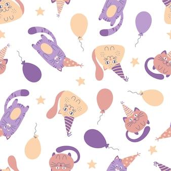 Бесшовный детский образец с милыми мультяшными кошками в шапках и воздушных шарах на день рождения. творческий фон. идеально подходит для детского дизайна, ткани, упаковки, обоев, текстиля.