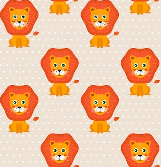 Seamless baby pattern with lions and dots. background for kids.