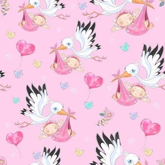 Seamless background for baby girl's birth. stork with baby girls.