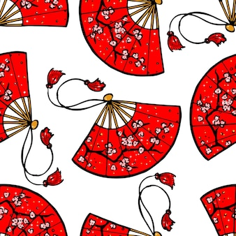 Seamless background of beautiful red japanese fans with an image of cherry blossoms. hand-drawn illustration