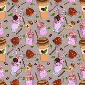 Seamless background for a coffee shop with a cup of tea, coffee beans and a milkshake
