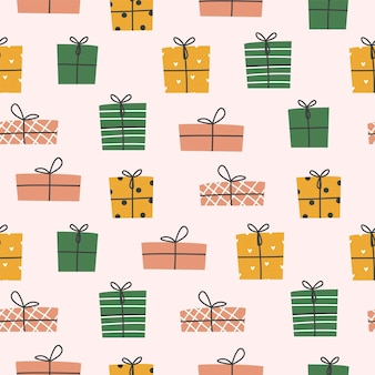Seamless background. colorful boxes for gifts. vector illustration