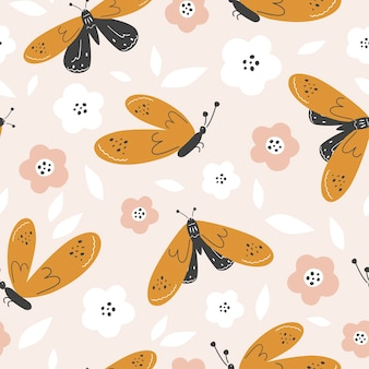 Seamless background. colorful butterflies on a light background with flowers. vector illustration