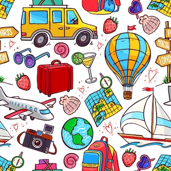 Seamless background of colorful travel icons. airplane, car, ship. hand-drawn illustration
