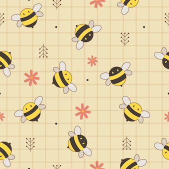 Seamless background of cute yellow and black bees with flowers