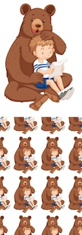 Seamless background design with bear and boy