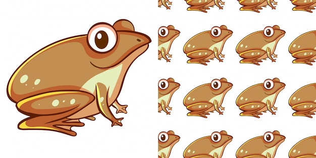 Seamless background design with brown frog