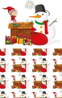 クリスマスをテーマにしたシームレスな背景デザイン