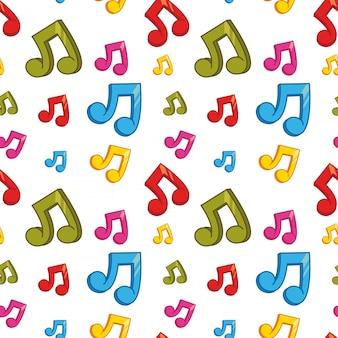 カラフルな音楽ノートを使ったシームレスな背景デザイン