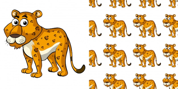 Seamless background design with cute cheetah