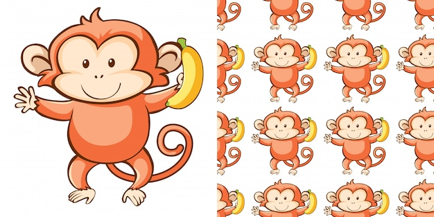 Seamless background design with cute monkey