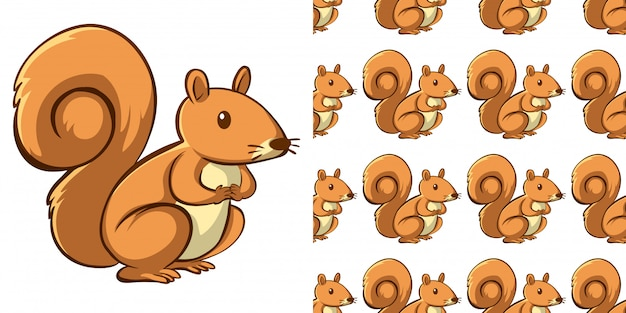 Seamless background design with cute squirrel